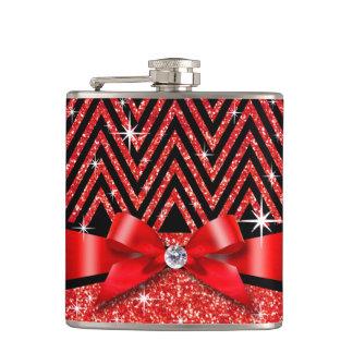Glitter Chevron Bling Diamond Bow | red Hip Flask
