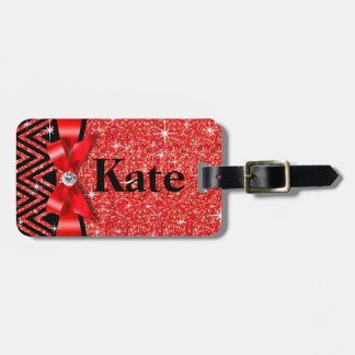 Glitter Chevron Bling Diamond Bow | red Luggage Tag