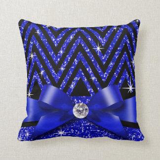 Glitter Chevron Bling Diamond Bow | sapphire Throw Pillow