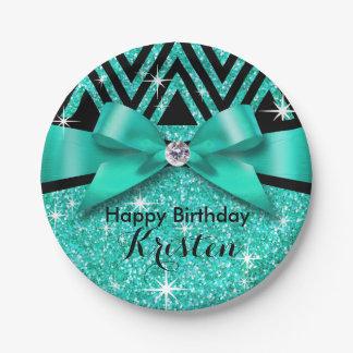 Glitter Chevron Bling Diamond Bow | teal 7 Inch Paper Plate