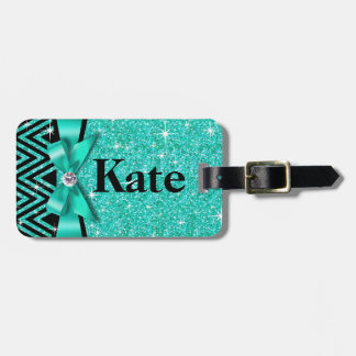 Glitter Chevron Bling Diamond Bow | teal Luggage Tag