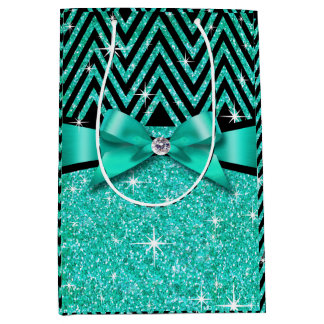 Glitter Chevron Bling Diamond Bow | teal Medium Gift Bag