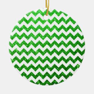 Glitter Chevron Green Ceramic Ornament