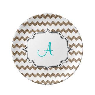 Glitter Chevron Monogram Porcelain Plates