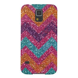 Glitter Chevron Pink Purple Orange Teal Cases For Galaxy S5