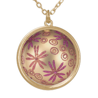 Glitter Christmas necklace Gold pink