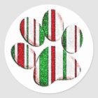 Glitter Christmas paw print striped circle labels