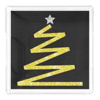 Glitter Christmas tree Acrylic Tray