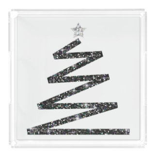 Glitter Christmas tree Acrylic Tray