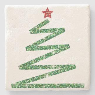 Glitter Christmas tree Stone Coaster