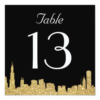 Glitter City Skyline Wedding Table Number Card