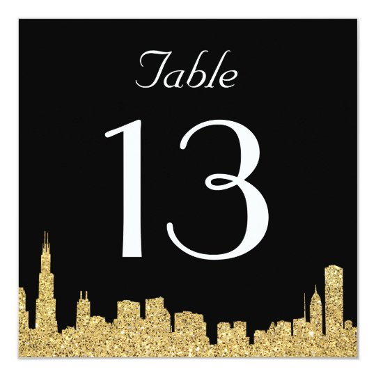 Glitter City Skyline Wedding Table Number Card
