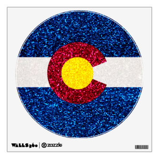 Glitter Colorado flag round wall cling Wall Sticker