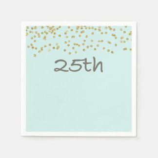 Glitter Confetti 25th Disposable Napkin