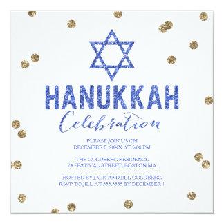 Glitter Confetti Hanukkah Party Invitation