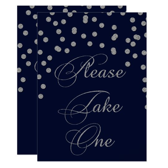 Glitter confetti navy silver please take one sign card