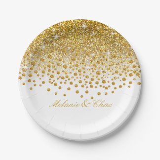 Glitter Confetti Shower | gold white Paper Plate