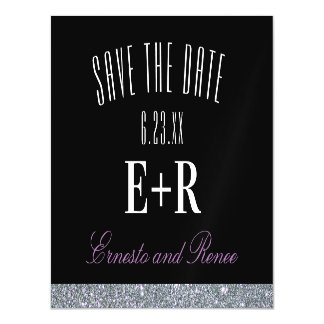 Glitter Contrast Monogram Save the Date Magnetic Card