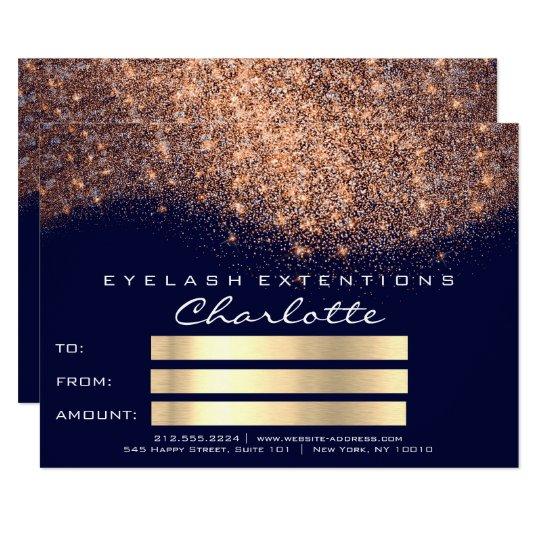 Glitter Copper Blue Navy Certificate Gift Card