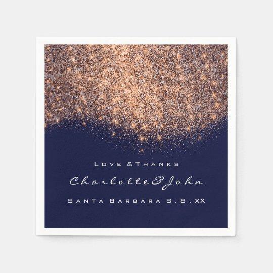 Glitter Copper Blue Navy White Thank You Name Napkin