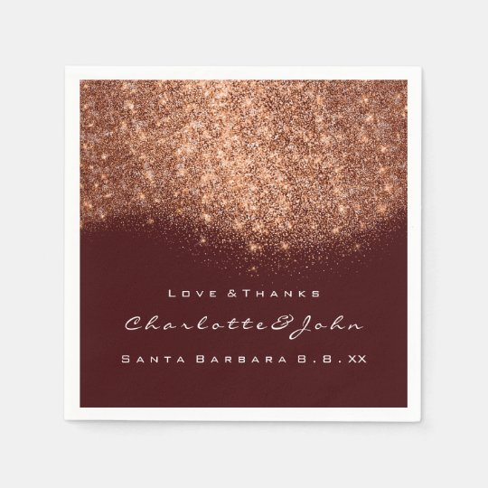 Glitter Copper Burgundy White Thank You Name Paper Napkin
