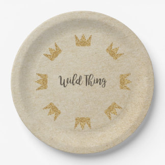 Glitter Crown Kraft Wild Thing Paper Plates 9 Inch Paper Plate