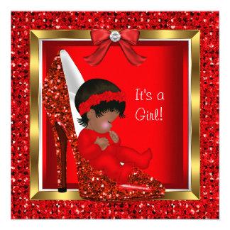 Glitter Cute Baby in Shoe Baby Shower Girl Red Custom Invitations