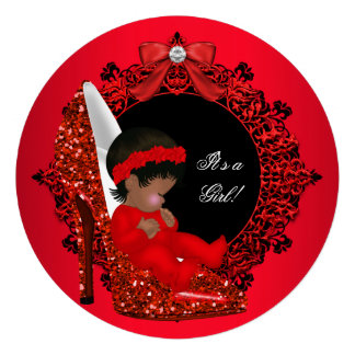 Glitter Cute Baby in Shoe Baby Shower Girl Red R2 Personalized Invite