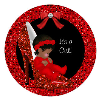 Glitter Cute Baby in Shoe Baby Shower Girl Red R Announcements