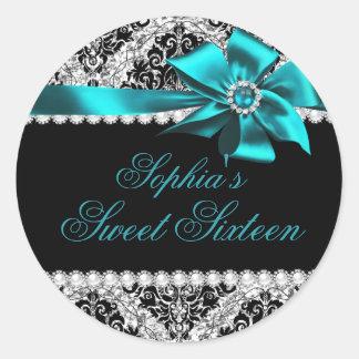 Glitter Damask & Jewel Teal Bow Sweet 16 Sticker