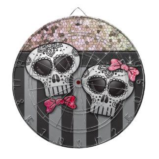 Glitter Day of The Dead Girly Skulls Pirate Stripe Dartboard