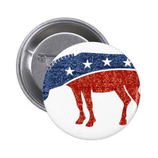 glitter democrat donkey 2 inch round button