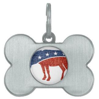 glitter democrat donkey pet tag