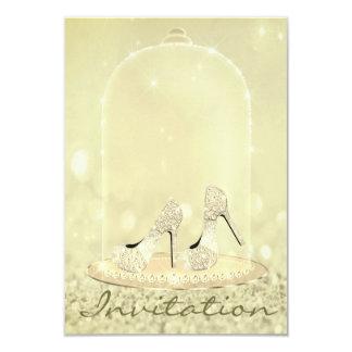 Glitter Diamond Glass Shoes Heels Gold Canary Card