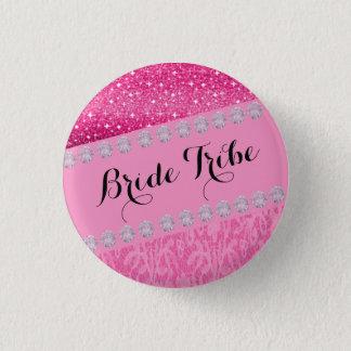 Glitter Diamond Style.Bride Tribe Button. 1 Inch Round Button
