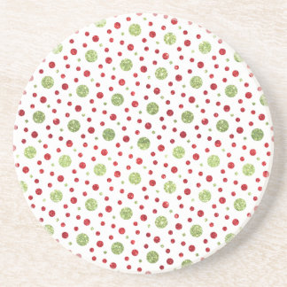 Glitter Dots in Christmas Red and Green Glitter Coaster