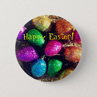 Glitter Easter Eggs 2 Inch Round Button