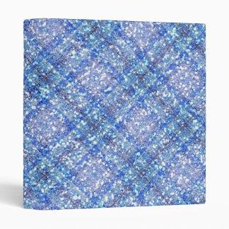 Glitter Effect Blue Tartain Plaid 3 Ring Binder
