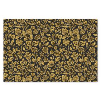 Glitter Effect Gold Floral on Black Tissue Paper