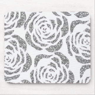 Glitter Effect Silver Grey Roses White Mousepad