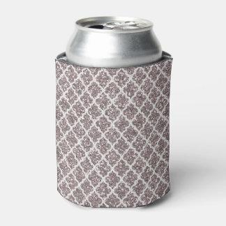 Glitter Effect Silvery Plum Quatrefoil Can Cooler