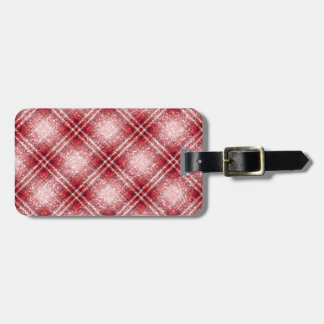 Glitter Effect Tartan in Red & Pink Luggage Tag