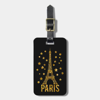 Glitter Eiffel Tower Paris Luggage Tag