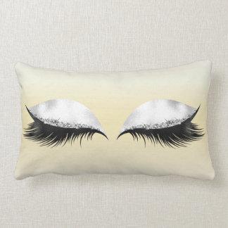 Glitter Eyes Makeup Confetti Pastel Canary Yellow Lumbar Pillow