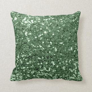 Glitter Fashion Sequin Blush Grass Green Glam Throw Pillow