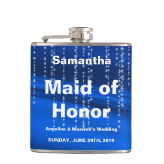 Glitter Faux Foil Confetti Look Maid of Honor Hip Flask