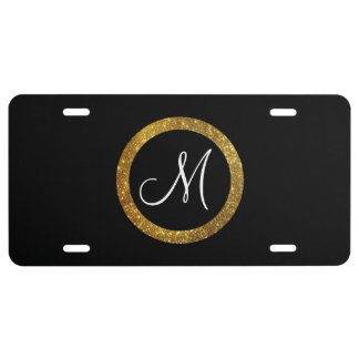 Glitter Faux Gold Circle Monogram License Plate