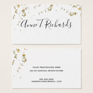 glitter(faux gold dots) with handwritten name b/w business card