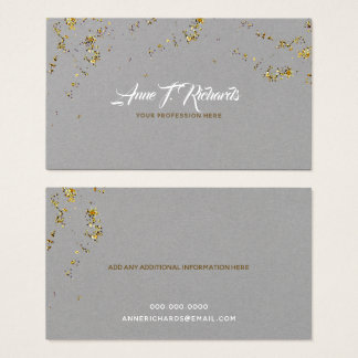 glitter(faux gold dots) with handwritten name grey business card