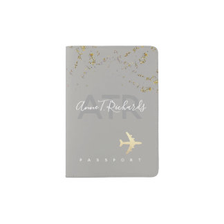 glitter(faux gold dots) with handwritten name grey passport holder